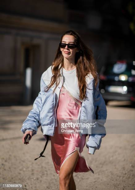 Estelle Pigault is seen outside Unravel Project during Paris Fashion Week Womenswear Fall/Winter 2019/2020 on February 27 2019 in Paris France