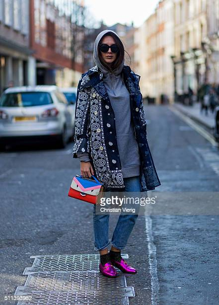 Estelle Pigault wearing a grey hoody and a Fendi bag seen outside Eudon Choi during London Fashion Week AW16 on February 19 2016 in London England...