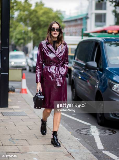 Estelle Pigault wearing boredeaux coat, Balenciaga bag outside A.W.A.K.E. During London Fashion Week September 2017 on September 19, 2017 in London,...