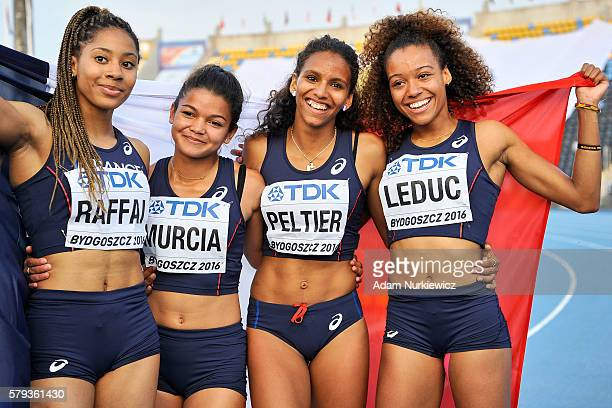 Estelle Raffai and Tamara Murcia and Cynthia Leduc and Fanny Peltier all from France celebrate silver medals in women's 4x100 meters relay final...