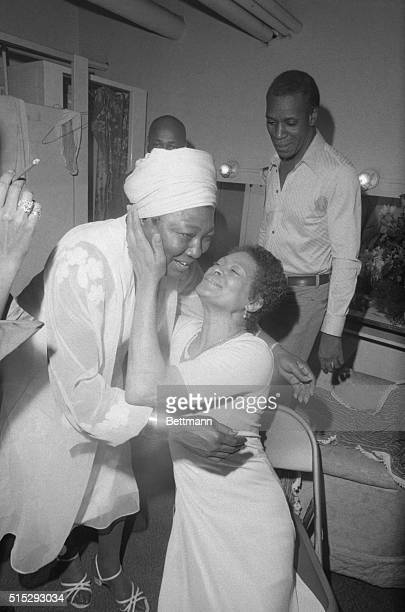 Estelle Rolle star of the TV series Good Times, enjoys a reunion with Frances Foster & Moses Gunn backstage at the Palace Theatre. The TV star was on...