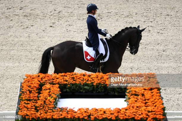 Estelle Wettstein of Switzerland riding West Side Story Old competes during Day 1 of the Dressage Grand Prix Team Competition at the Longines FEI...