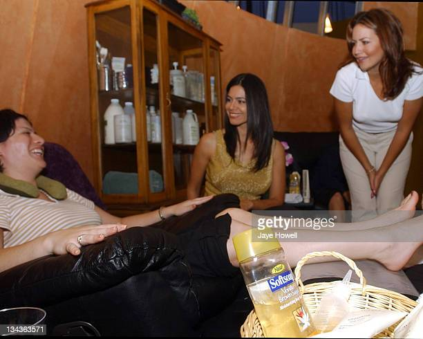 Estephania Lebaron from the movie The Alamo and local TV reporter Martha Trevino talks with a participant at the Catalina Magazine Spa Day at the...