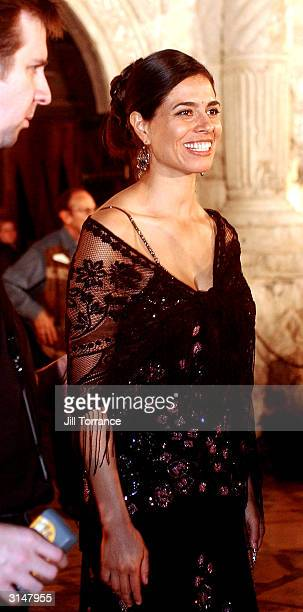 Estephania LeBaron who plays Juana in The Alamo leaves the historic Alamo after a tour March 27 2004 at the Disney Premiere After Party in San...