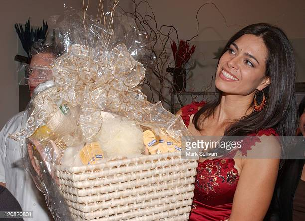Estephania LeBaron with gift basket during Catalina Magazine and ColgatePalmolive Present Vanilla Spa Getaway at Amadeus Aveda Day Spa in Los Angeles...