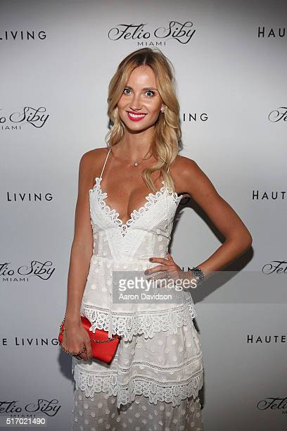Ester Berdych Satorova attends Haute Living Hosts Launch of Felio Siby's New Watch With Tomas Berdych at Felio Siby Boutique on March 22 2016 in...