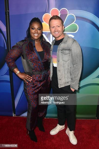 Ester Dean and Shane McAnally attend the 2019 TCA NBC Press Tour Carpet at The Beverly Hilton Hotel on August 08 2019 in Beverly Hills California