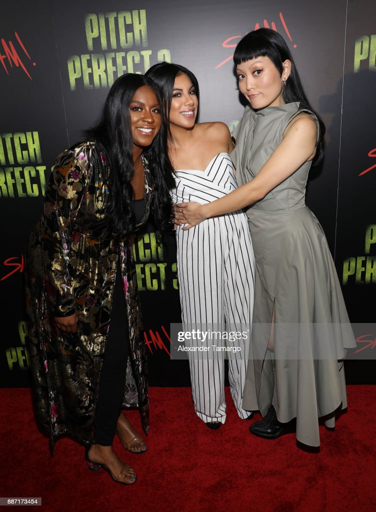 Ester Dean, Chrissie Fit and Hana Mae Lee are seen at SLAM! Academy of Miami during the Pitch Perfect 3 special event on December 6, 2017 in Miami, Florida.