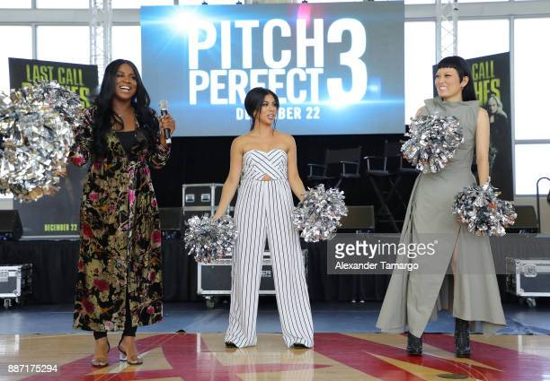 Ester Dean Chrissie Fit and Hana Mae Lee are seen at SLAM Academy of Miami during the Pitch Perfect 3 special event on December 6 2017 in Miami...