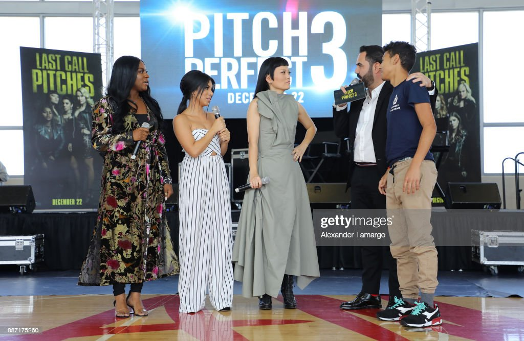 Ester Dean, Chrissie Fit, Hana Mae Lee and Enrique Santos are seen at SLAM! Academy of Miami during the Pitch Perfect 3 special event on December 6, 2017 in Miami, Florida.