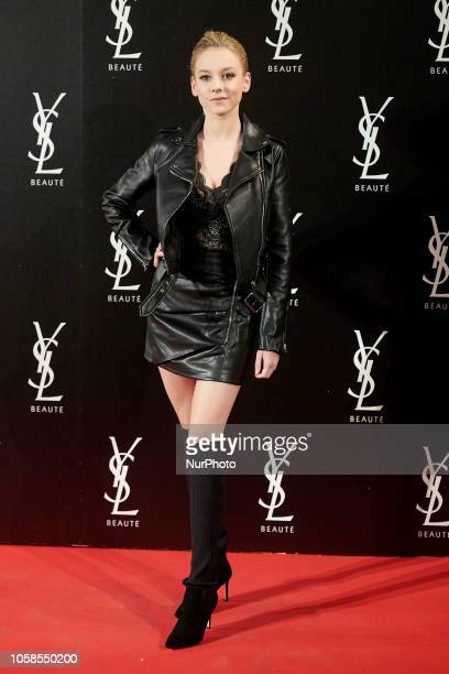 Ester Exposito attends the YVES SAINT LAURENT THE SLIM Rouge PurCouture party photocall at Santona Palace in Madrid on October 6 2018
