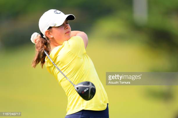 Ester Fagersten of Sweden hits her tee shot on the 1st hole during the final round of the Toyota Junior Golf World Cup at Chukyo Golf Club Ishino...