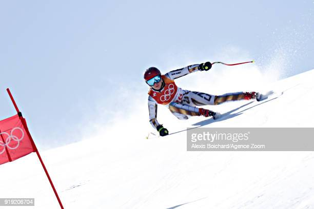 Ester Ledecka of Czech Republic competes during the Alpine Skiing Women's Super-G at Jeongseon Alpine Centre on February 17, 2018 in Pyeongchang-gun,...