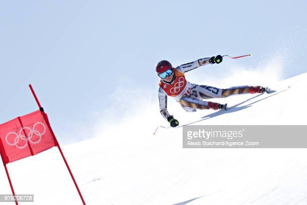 Ester Ledecka of Czech Republic competes during the Alpine Skiing Women's SuperG at Jeongseon Alpine Centre on February 17 2018 in Pyeongchanggun...