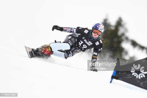 Ester Ledecka of Czech Republic competes during the final race of the FIS World cup Parallel Giant Slalom in Rogla