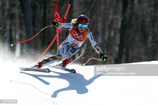 Ester Ledecka of Czech Republic in action during the Alpine Skiing Women's SuperG at Jeongseon Alpine Centre on February 17 2018 in Pyeongchanggun...