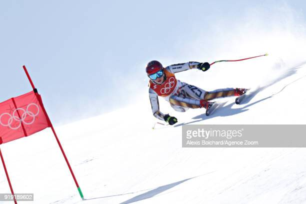Ester Ledecka of Czech Republic in action during the Alpine Skiing Women's Super-G at Jeongseon Alpine Centre on February 17, 2018 in...