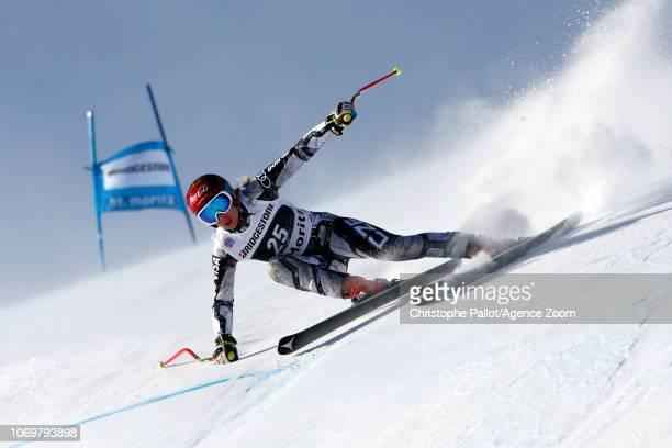 Ester Ledecka of Czech Republic in action during the Audi FIS Alpine Ski World Cup Women's Super G on December 8 2018 in St Moritz Switzerland