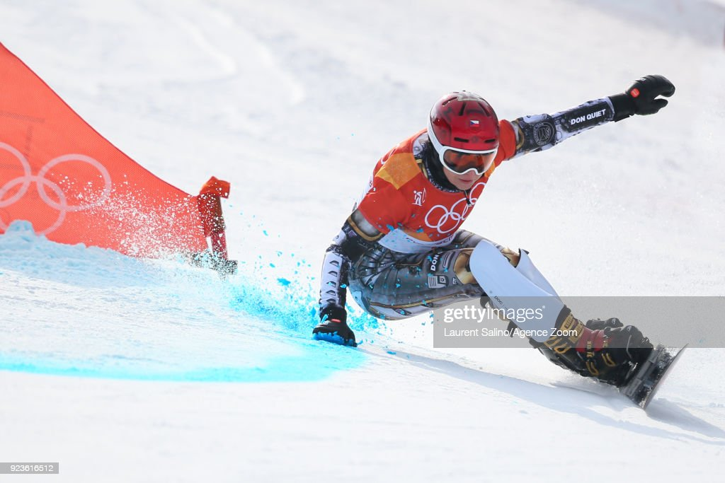 Ester Ledecka of Czech Republic takes 1st place during the Snowboarding Men's and Women's Parallel Giant Slalom Finals at Pheonix Snow Park on February 24, 2018 in Pyeongchang-gun, South Korea.