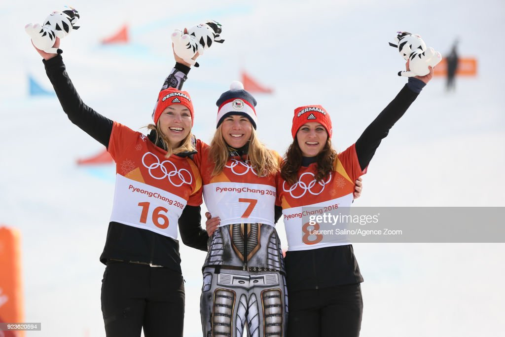 Ester Ledecka of Czech Republic takes 1st place, Selina Joerg of Germany takes 2nd place, Ramona Theresia Hofmeister of Germany takes 3rd place during the Snowboarding Men's and Women's Parallel Giant Slalom Finals at Pheonix Snow Park on February 24, 2018 in Pyeongchang-gun, South Korea.