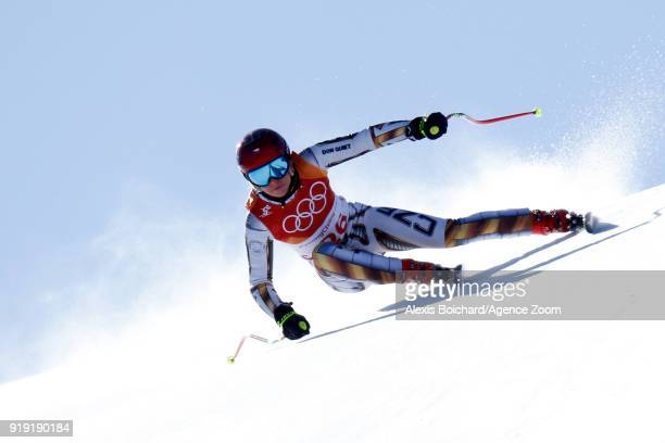 Ester Ledecka of Czech Republic wins the gold medal during the Alpine Skiing Women's Super-G at Jeongseon Alpine Centre on February 17, 2018 in...