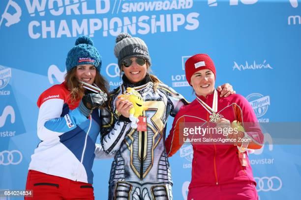 Ester Ledecka of Czech Republic wins the gold medal Patrizia Kummer of Switzerland wins the silver medal Ekaterina Tudegesheva of Russia wins the...