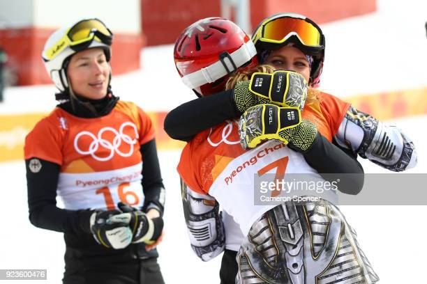 Ester Ledecka of the Czech Republic celebrates with Ramona Theresia Hofmeister of Germany after the Ladies' Snowboard Parallel Giant Slalom Big Final...