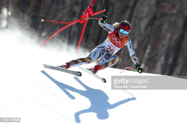 Ester Ledecka of the Czech Republic competes during the Alpine Skiing Ladies Super-G on day eight of the PyeongChang 2018 Winter Olympic Games at...