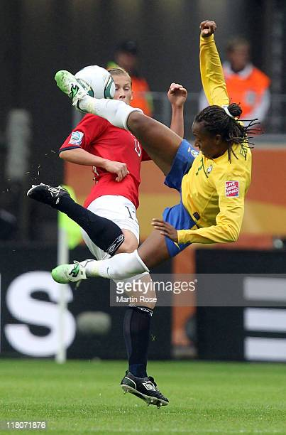 Ester of Brazil and Madeleine Giske of Norway battle for the ball during the FIFA Women's World Cup 2011 Group D match between Brazil and Norway at...