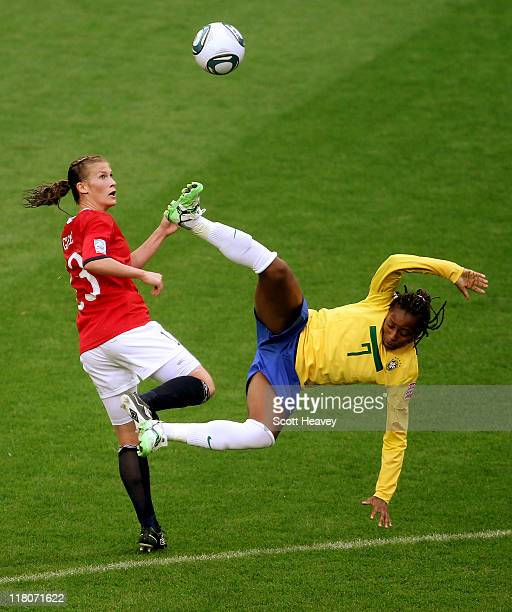 Ester of Brazil attempts a Bicycle kick against Madeline Giske of Norway during the FIFA Women's World Cup 2011 Group D match between Brazil and...