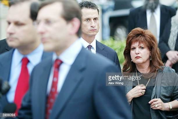 Ester Pollard , wife of convicted spy Jonathan Pollard, watches lawyers Eliot Lauer and Jacques Semmelman while speaking to the media September 2,...