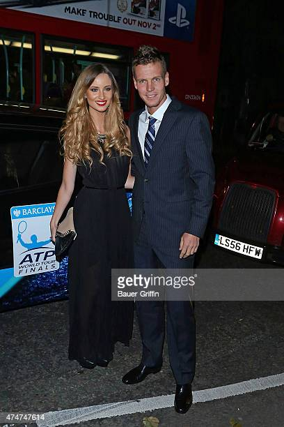 Ester Satorova and Tomas Berdych are seen at the ATP World Tour Finals Gala on November 04 2012 in London United Kingdom