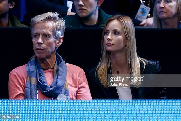 Ester Satorova fiancee of Tomas Berdych of the Czech Republic watches him in his men's singles match against Kei Nishikori of Japan during day three...