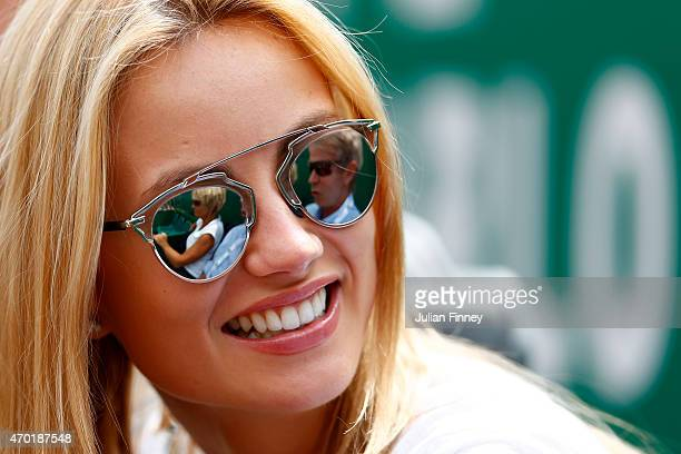 Ester Satorova girlfriend of Tomas Berdych of Czech Republic looks on whilst he plays Gael Monfils of France in the semi finals during day seven of...