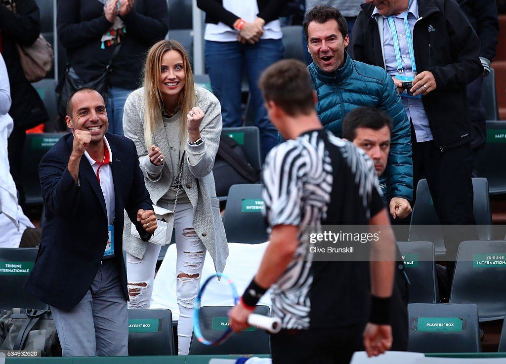 Ester Satorova the wife of Tomas Berdych of Czech Republic applauds his victory during the Men's Singles third round match against Pablo Cuevas of Uruguay on day seven of the 2016 French Open at Roland Garros on May 28, 2016 in Paris, France.