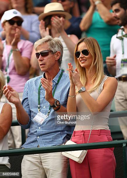 Ester Satorova the wife of Tomas Berdych of The Czech republic watches on from court one on day nine of the Wimbledon Lawn Tennis Championships at...