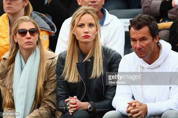 Ester Satorova watches her fiancee Tomas Berdych of Czech Republic in his Men's Singles match against Benoit Paire of France on day six of the 2015...