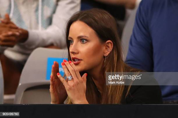 Ester Satorova wife of Tomas Berdych on day two of the 2018 Australian Open at Melbourne Park on January 16 2018 in Melbourne Australia