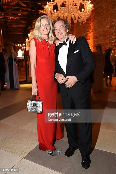 Ester Velo Van Hulst and Lucio Velo attend the Venetian Heritage And Bulgari Gala Dinner at Cipriani Hotel on May 9 2015 in Venice Italy