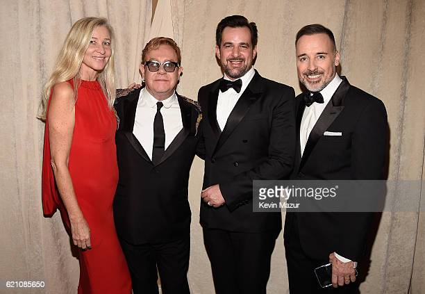 Ester Velo Van Hulst Elton John International Communications Director for Bulgari Stephane Gerschel and David Furnish attend 15th Annual Elton John...