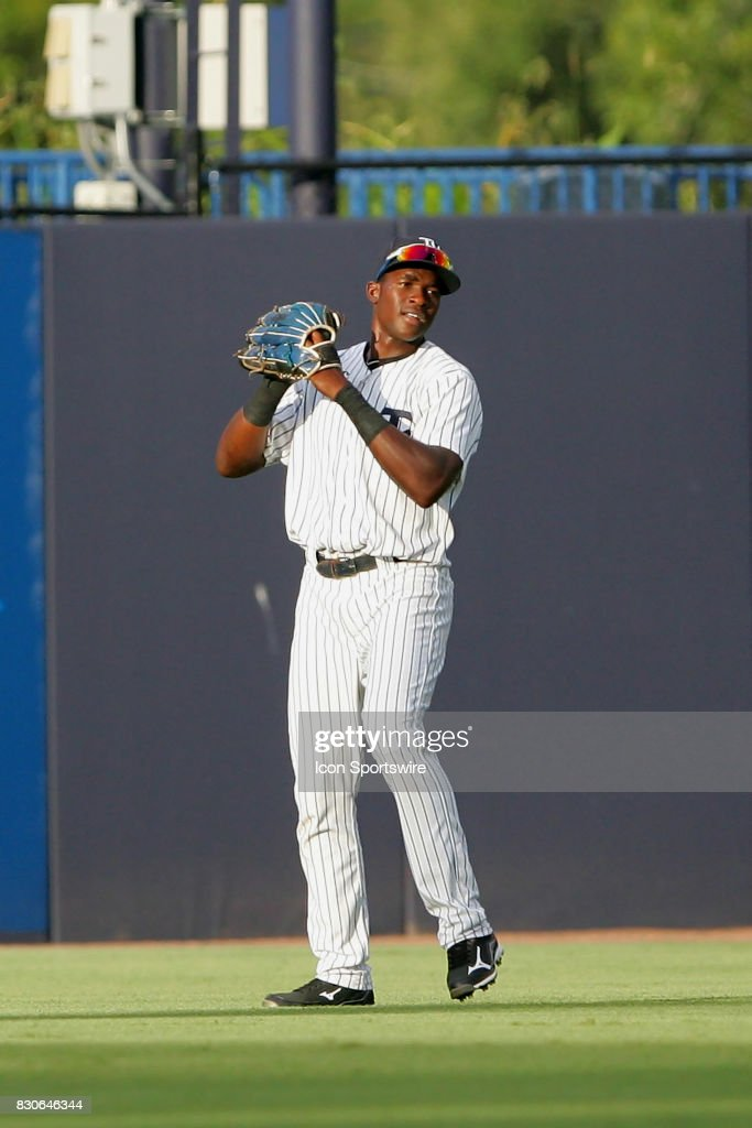 Estevan Florial of the Yankees makes a catch in centerfield during the Florida State League game between the St. Lucie Mets and the Tampa Yankees on August 10, 2017, at Steinbrenner Field in Tampa, FL.