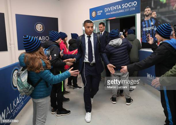 Estevao Dalbert of FC Internazionale arrives prior to the serie A match between FC Internazionale and SSC Napoli at Stadio Giuseppe Meazza on March...