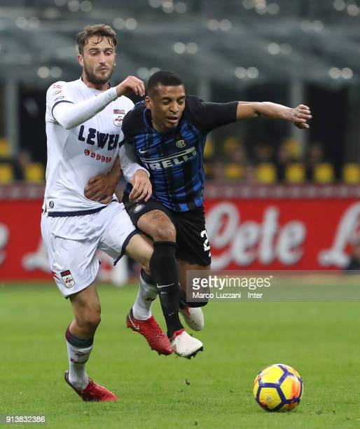 Estevao Dalbert of FC of Internazionale competes for the ball with Andrea Barberis of FC Crotone during the serie A match between FC Internazionale...