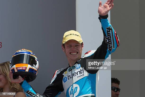 Esteve Rabat of Spain and Pons 40 HP Tuenti celebrates on the podium the second place in Moto2 class at the end of the Moto2 race during the MotoGp...