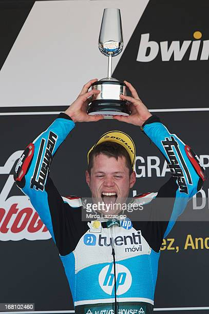 Esteve Rabat of Spain and Pons 40 HP Tuenti celebrates on the podium the victory at the end of the Moto2 Race during the MotoGp of Spain - Race at...