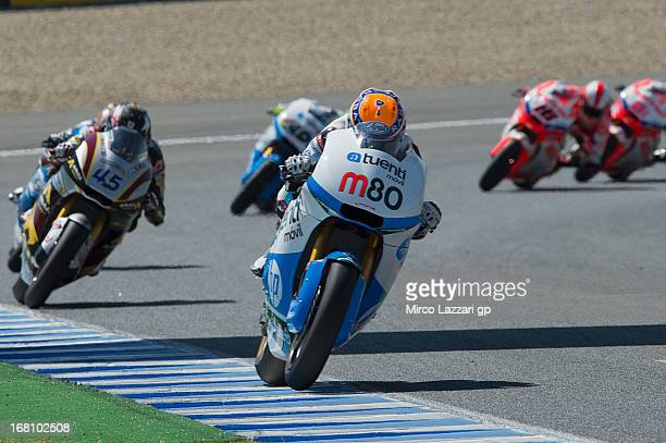 Esteve Rabat of Spain and Pons 40 HP Tuenti leads the field during the Moto2 Race during the MotoGp of Spain Race at Circuito de Jerez on May 5 2013...