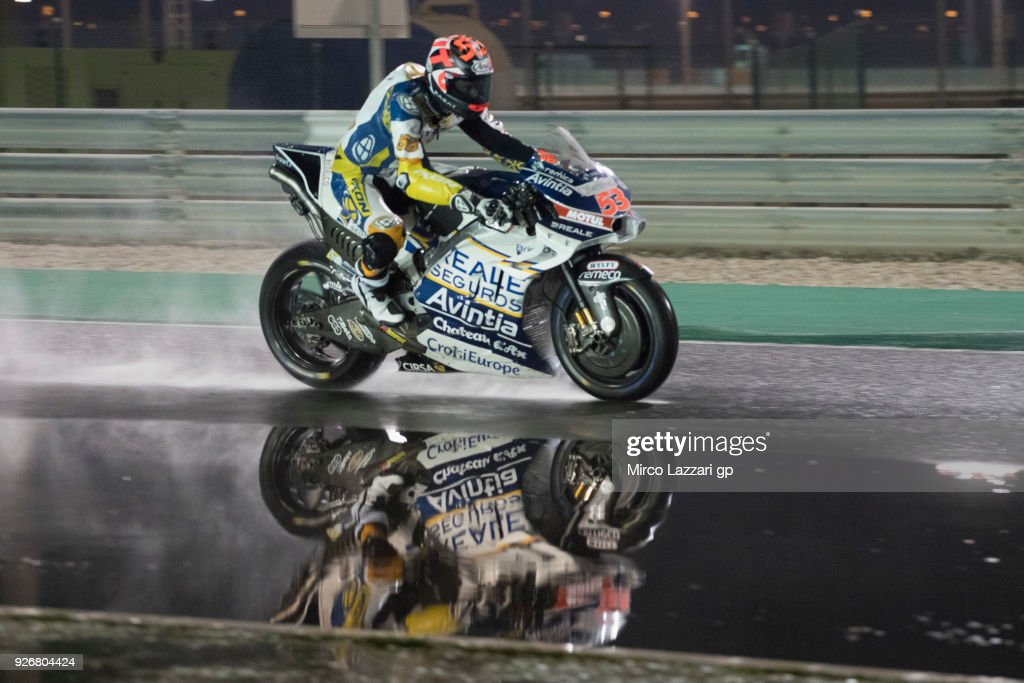 Esteve Rabat of Spain and Reale Avintia Racing heads down a straight and test the wet track during the Moto GP Testing - Qatar at Losail Circuit on March 3, 2018 in Doha, Qatar.
