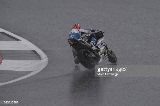 Esteve Rabat of Spain and Reale Avintia Racing rounds the bend during the qualfying practice during the MotoGp Of Great Britain Qualifying at...