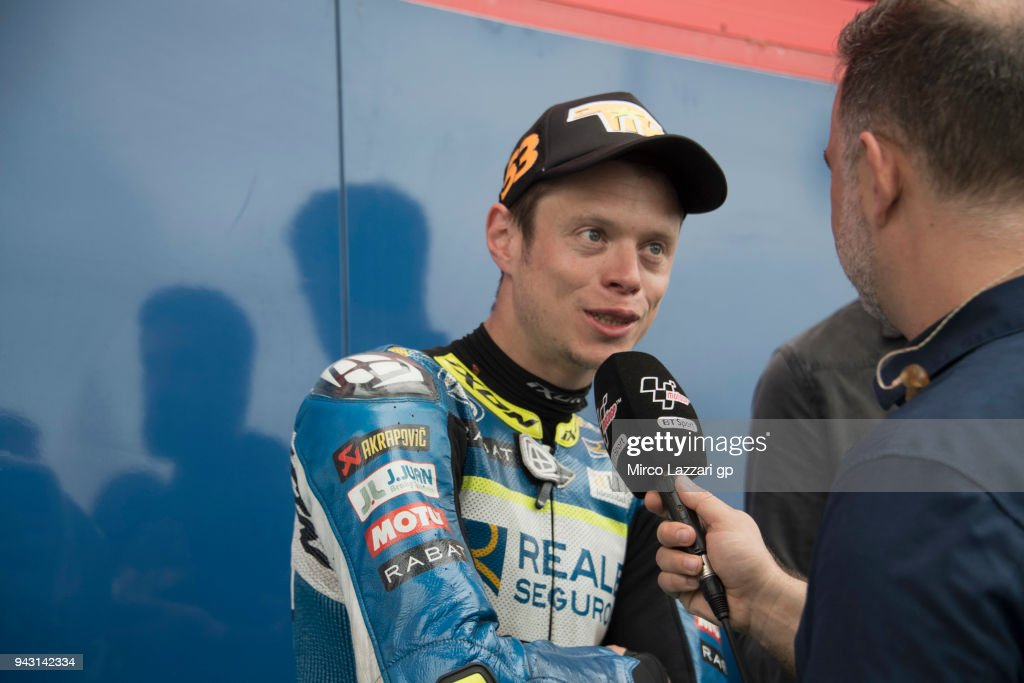 Esteve Rabat of Spain and Reale Avintia Racing speaks with journalists during the qualifying practice during the MotoGp of Argentina - Qualifying on April 7, 2018 in Rio Hondo, Argentina.