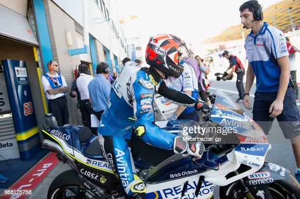 Esteve Rabat of Spain and Reale Avintia Racing starts from box during the Qualifying practice during the MotoGP Netherlands Qualifying on June 30...
